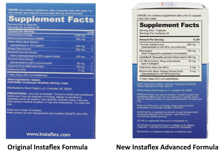 Instaflex original vs Instaflex Advanced formula