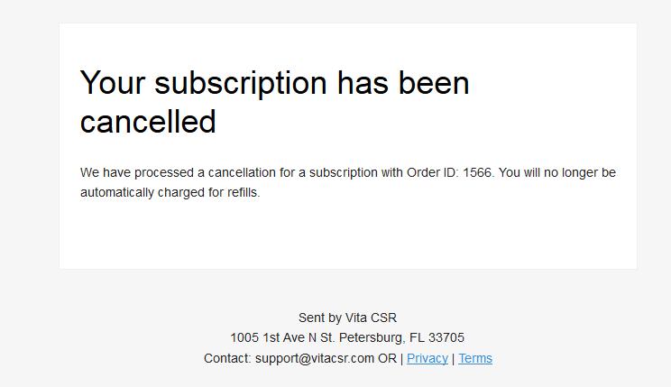 adderin cancellation