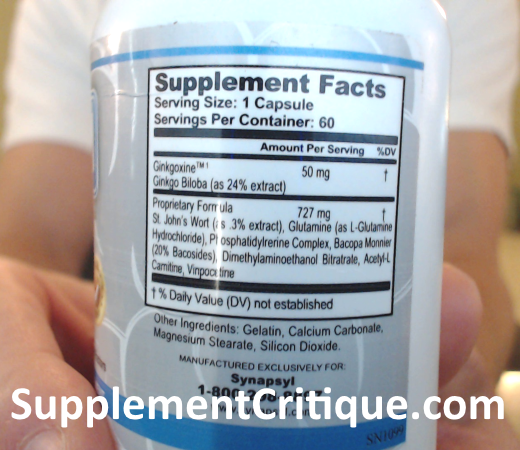 synapsyl ingredients label