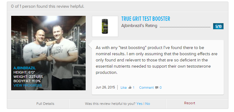 True Grit Testosterone Booster Real Review Image