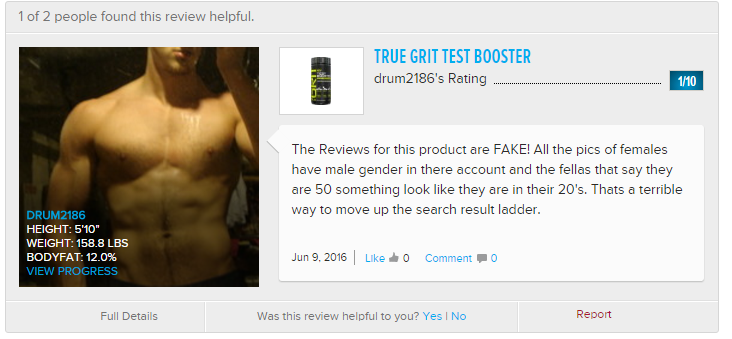 True Grit Testosterone Booster Reviews are Fake Image