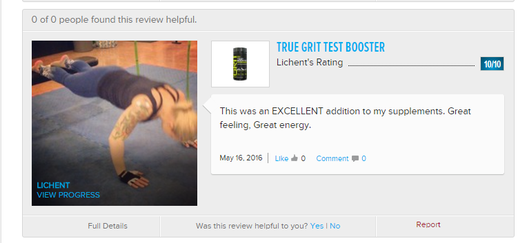 True Grit Testosterone Booster inverted push up review image