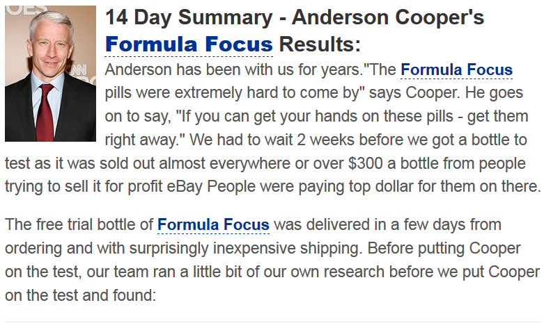 anderson cooper formula focus test results