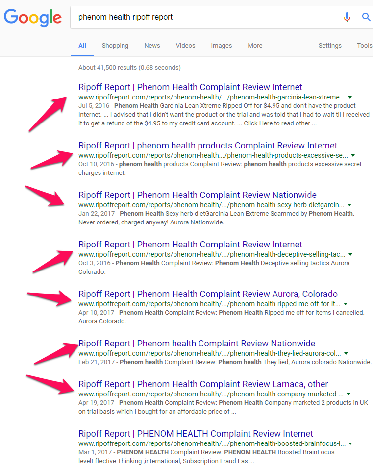 phenom health complaints