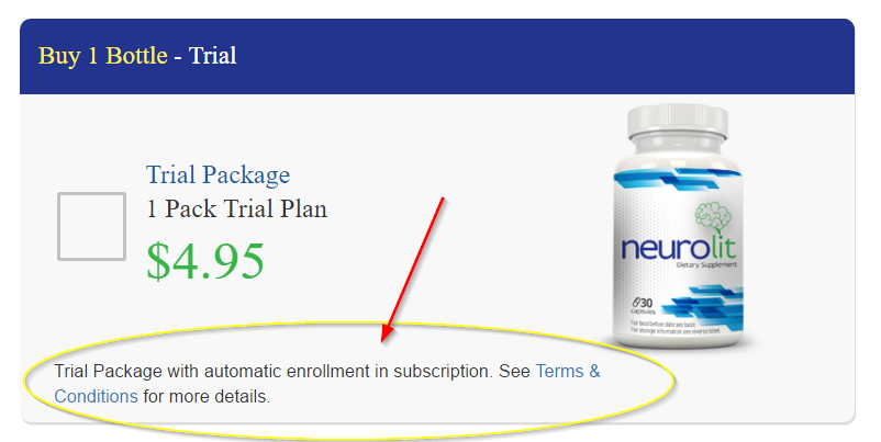 Neuro Lit Trial Package order screen