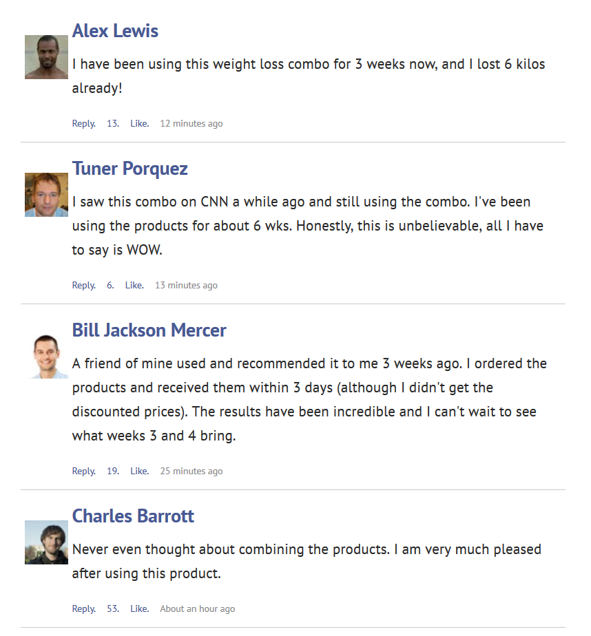 fake facebook comments promoting lebron james using supplements