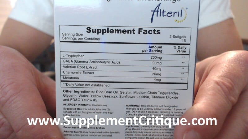alteril softgels ingredients label