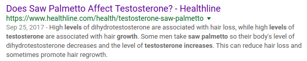 Some men take Saw Palmetto so their bodies' level of. . . testosterone increases.