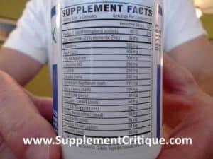 Semenax ingredients label