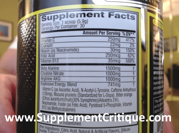 c4 pre workout ingredients label
