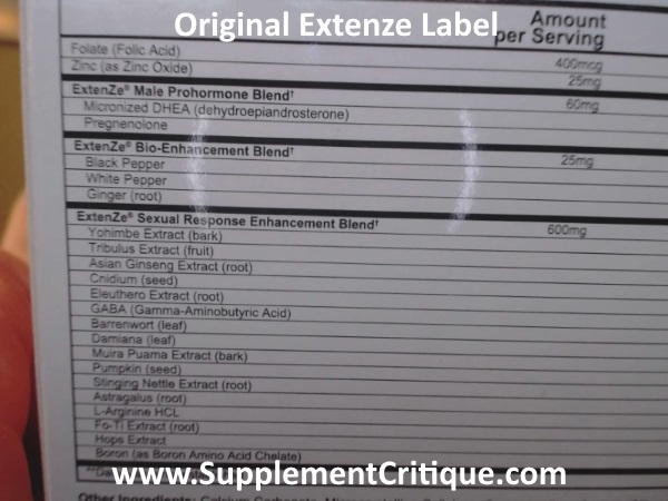 original extenze label