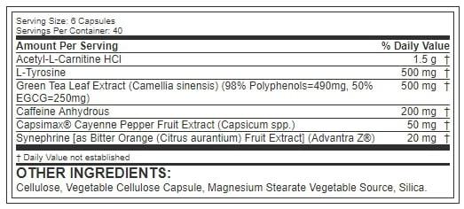 shred jym ingredients label