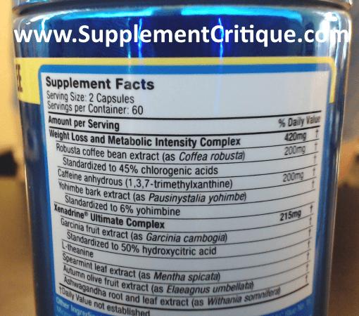 xenadrine ultimate ingredients label