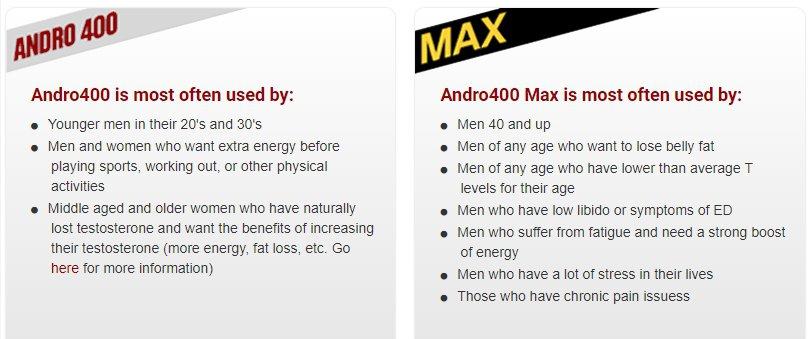 andro 400 vs andro 400 max benefits