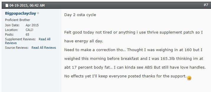 day 2 ostarine cycle