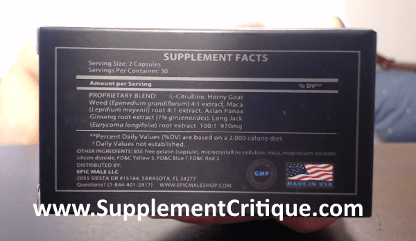 epic male enhancement ingredients label