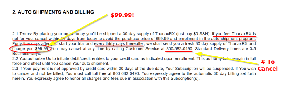 Tharlax Rx Terms