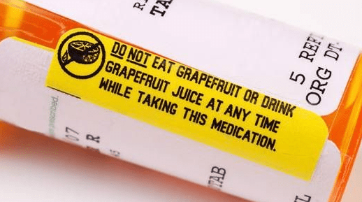 grapefruit medication warning on label