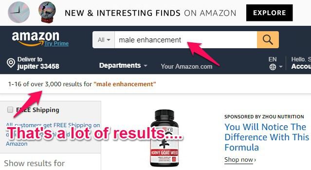 male enhancement search on amazon