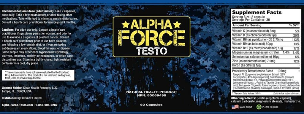 Alpha Force Testo Ingredients Label