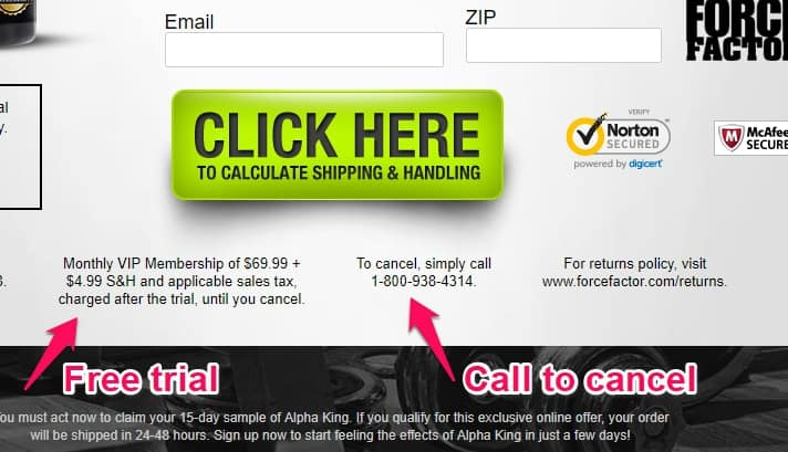 force factor alpha king free trial and cancellation phone number