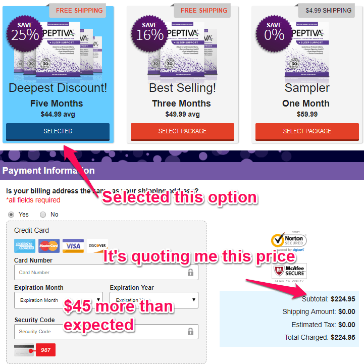 peptiva pricing issues 2