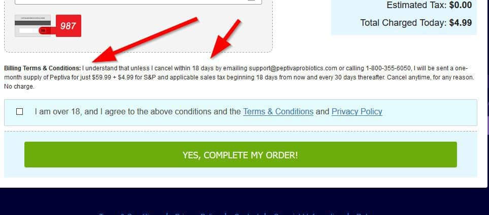 peptiva terms and conditions