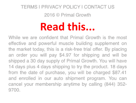 primal growth free trial sample terms and conditions
