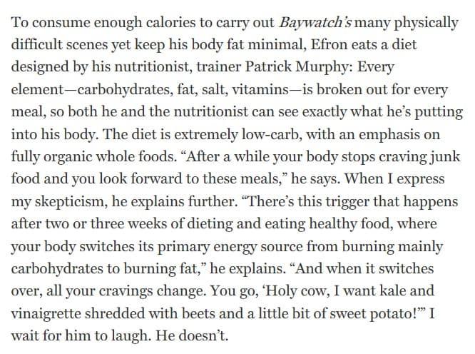 zac efron diet interview