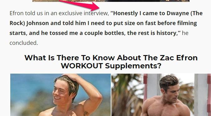 zac efron supplements
