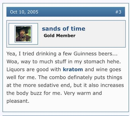kratom and alcohol anecdotal report