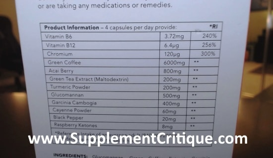 leanbean fat burner ingredients label