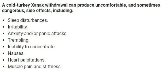 xanax withdrawal symptoms