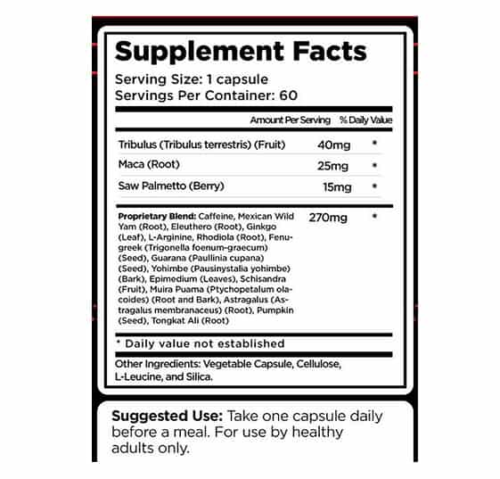 erectite ingredients label