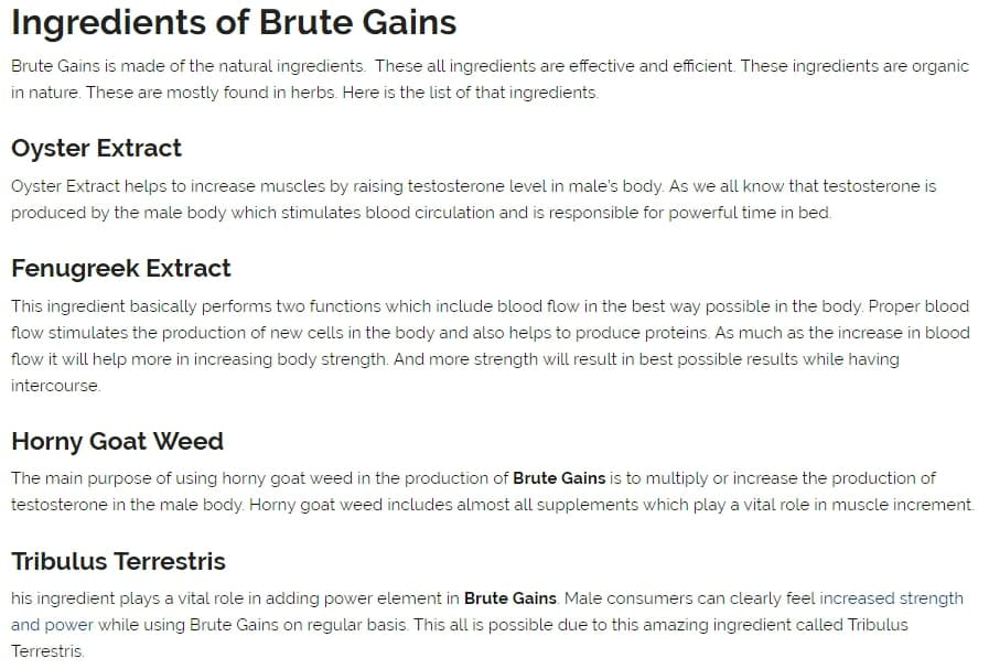 ingredients in brute gains according to one site