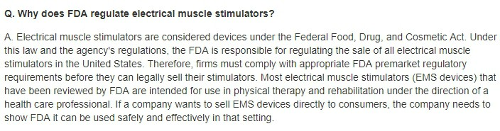 why the FDA regulates electric muscle stimulators
