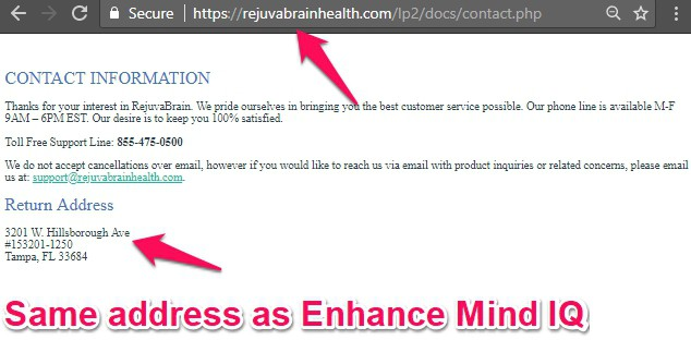 enhance mind iq return address