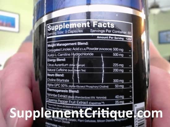 quadralean thermogenic ingredients label