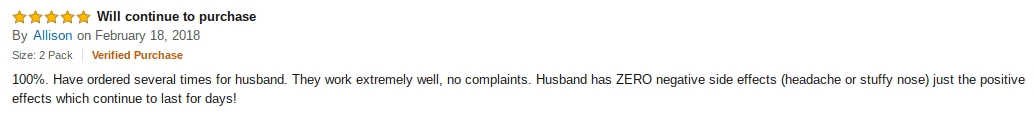 A woman's review on behalf of her husband.
