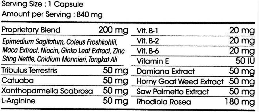 Adam's Secret 3000 ingredients