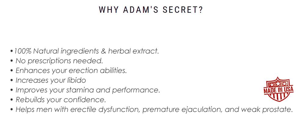 Adam's Secret marketing.<br><br>