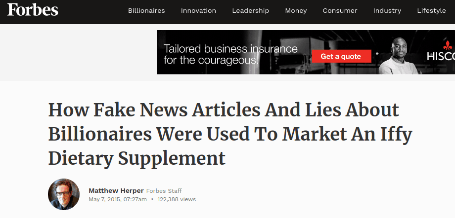 Forbes writes an article about how Fake News articles and lies are used to market iffy products like Accelleral