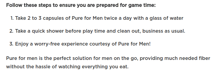 Here's how Pure For Men works