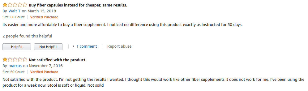 Negative reviews for Pure For Men