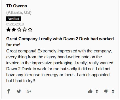 Negative review for Brickhouse Nutrition Dawn to Dusk