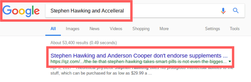 Accelleral is not endorsed by celebrities like Stephen Hawking because it is a scam