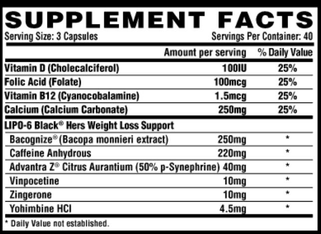 lipo 6 black hers original ingredients label