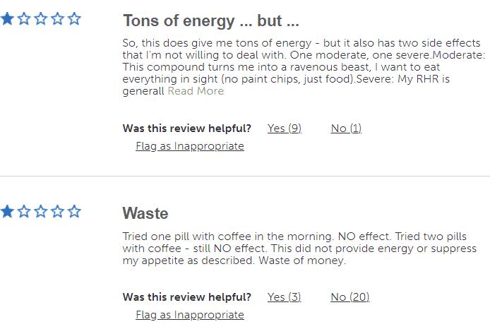 negative reviews of lipo 6 black hers on gnc
