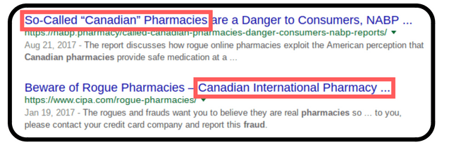 Many fake pharmacies pretend that they are from Canada