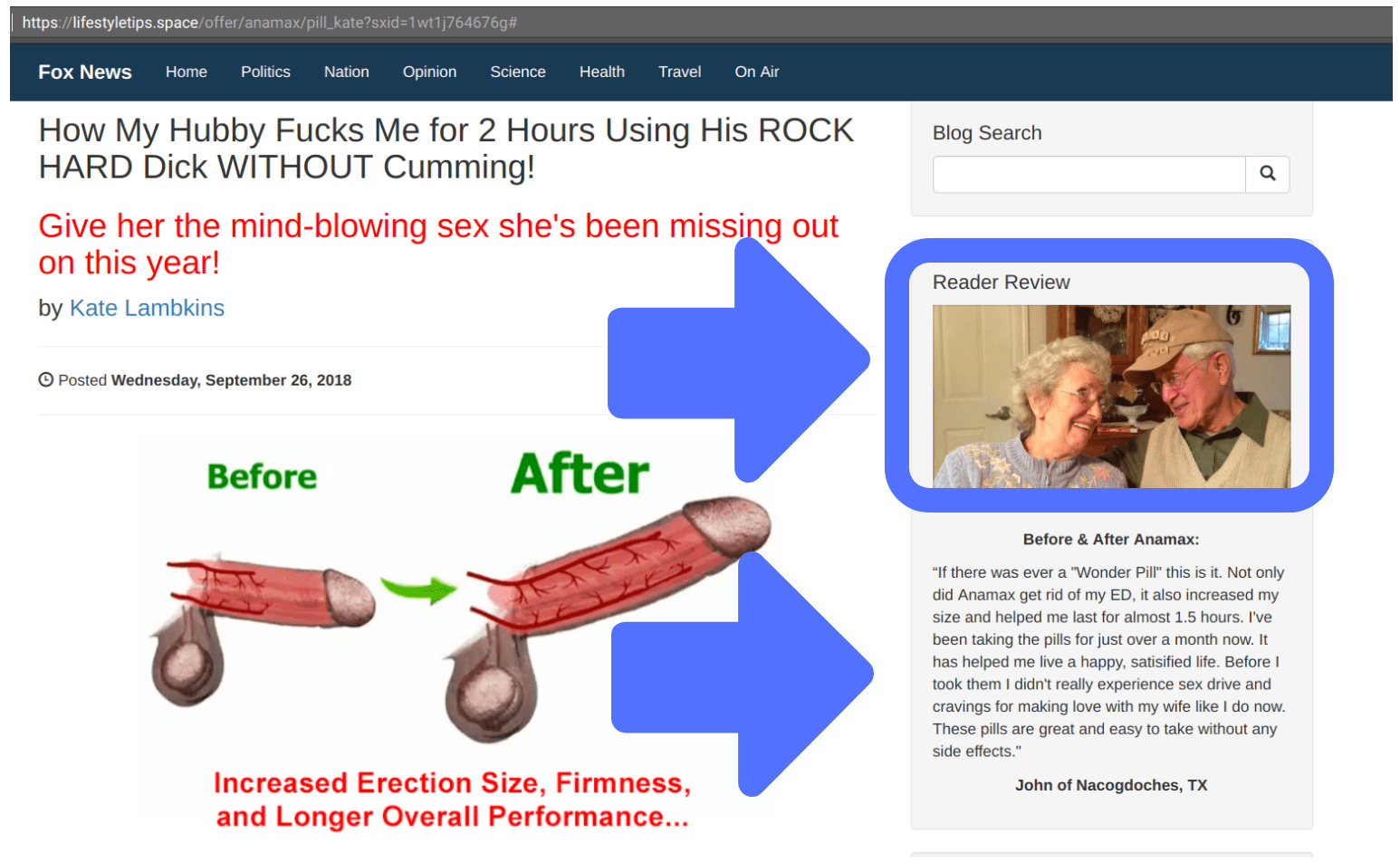 Amadex uses an elderly couple as a fake testimonial to sell their male sex enhancement pills
